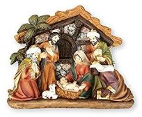 Traditional Hand Painted Resin Christmas Nativity Set ~ 7 Figures & Shed
